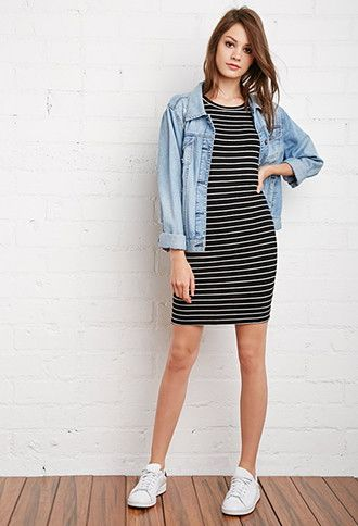 Stripe Ribbed Knit Dress | Forever 21 - 2000173643