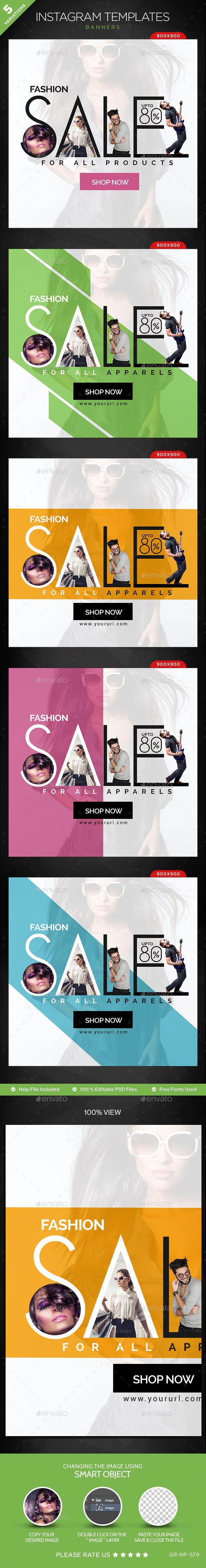 Sales Instagram Templates - 5 Designs - Banners & Ads Web Elements