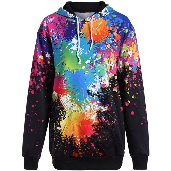 Plus Size Splatter Paint Pullover Hoodie (29 CAD) ❤ liked on Polyvore featurin... 7