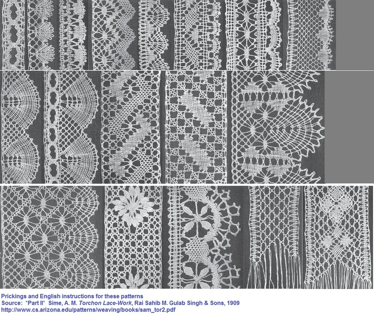 Prickings and English instructions for these patterns.  *Part II*  Sime, A. M. Torchon Lace-Work, Rai Sahib M. Gulab Singh & Sons, 1909  http://www.cs.arizona.edu/patterns/weaving/books/sam_tor2.pdf