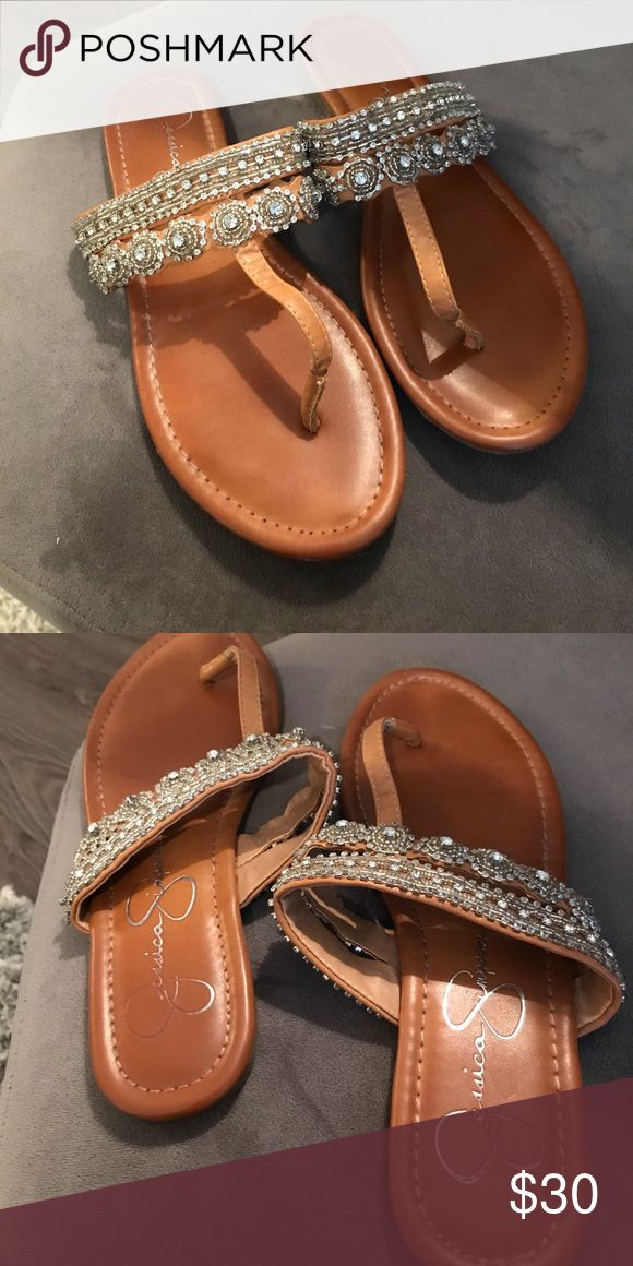 Jessica Simpson sandals Backless sandals with diamond strap Jessica Simpson Shoes Sandals