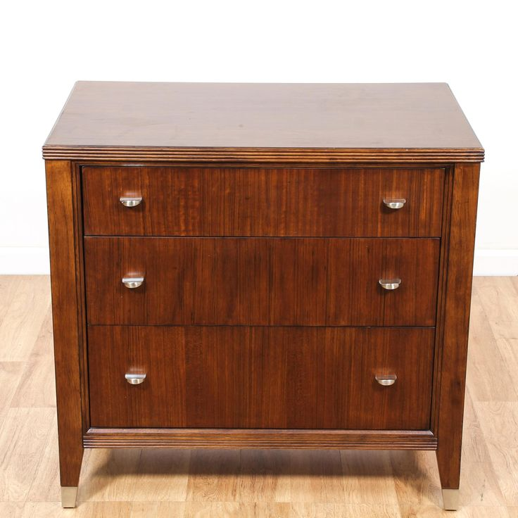 This contemporary nightstand dresser is featured in a solid wood with a gorgeous cherry finish. This chest of drawers has tapered legs, brass accents and 3 drawers. Perfect for small space storage! #contemporary #dressers #chestofdrawers #sandiegovintage #vintagefurniture