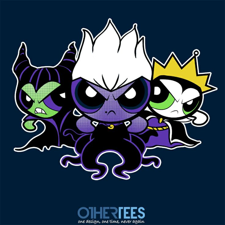 """Villainpuff Girls"" by absolemstudio Shirt on sale until 22nd Feb on www.othertees.com #powerpuffgirls #disney #villains #maleficent"