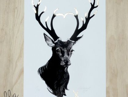 Black Hart - a limited edition fine art giclee print with gold leaf by ellaquaint