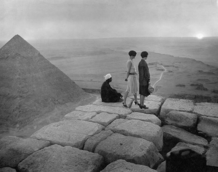 Tourists on the top of the Great Pyramid, ca. 1925