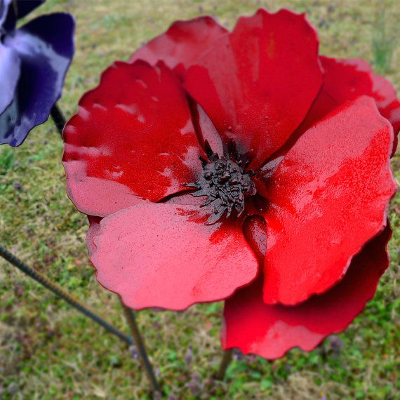 Metal Poppy Flower Stake Red