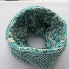 Snood hiver laine turquoise et liberty mitsi turquoise