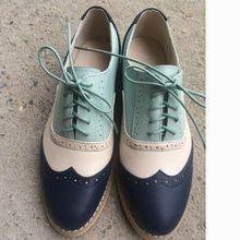 Couro genuíno sapatas lisas das mulheres tamanho EUA 13 = 27.5 cm sapatos feitos à mão das Mulheres Do Vintage estilo Britânico bullock oxford sapatos para as mulheres(China (Mainland))