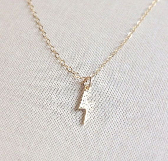 Adorable! Tiny Gold Lightning Bolt Necklace by amandadeer on Etsy, $26.00