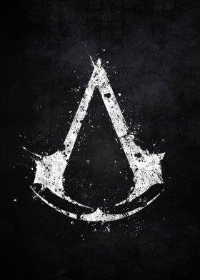 assassins creed video game logo emblem splat splatter symbol animus abstergo white black assassin ezio