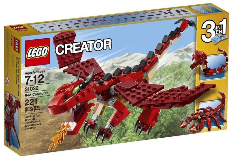LEGO CREATOR 221 pcs SET 31032 Red Creatures Fire Dragon Snake Scorpion 3 in 1 #LEGO