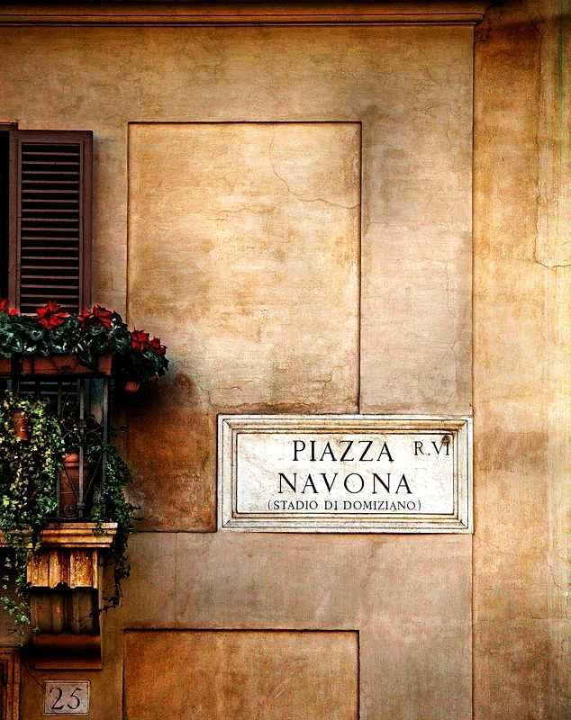 Street sign on the beautiful Piazza Navona, Rome.