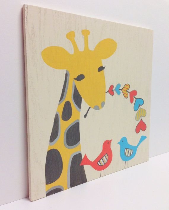 Hand Painted Whimsical Giraffe Nursery Art on Wood, Bird Wall Art, Kids Wood Sign, Giraffe Nursery, Bird Art, Heart Decor, Wood Wall Art