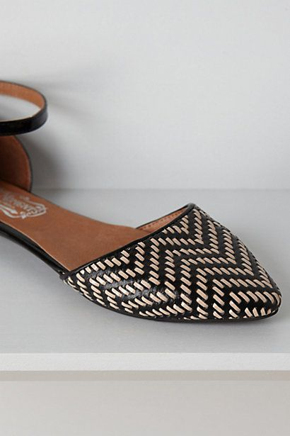 Love these, but how fast would they get wrecked walking around NYC? Lovins Woven Flats #anthropologie