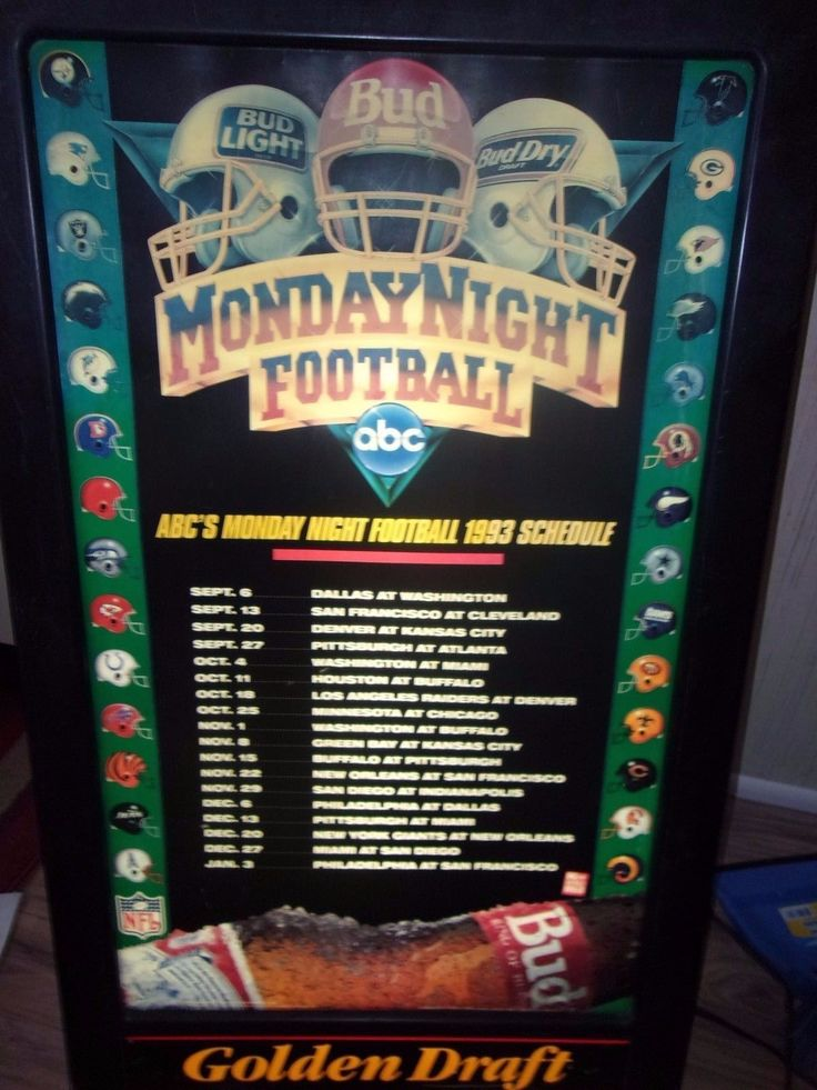 """Budweiser 1993 Monday Night Football Beer Sign Lighted Working, 36"""" Made By Kcs"""