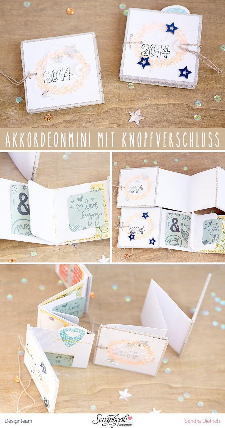 Inspirationsgalerie / Minialbum Werkstatt / Scrapbook Werkstatt / Akkorderon Mini mit Knopfbindung von Sandra Dietrich