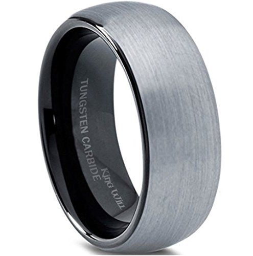King Will 8mm Tungsten Carbide Wedding Band Ring for Men with Black Plated Enamel Domed Comfort Fit
