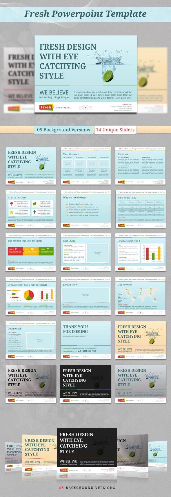 Fresh PowerPoint Template by kh2838 Studio, via Behance
