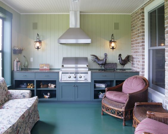 Charcoal Grills on Sale Porch Traditional with Beadboard Ceiling Brick Granite Counter Hood Outdoor Grill Roosters Seat Cushions Sofa