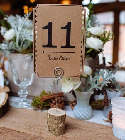 Rustic Wooden Bark Card Holders With Wire - Set Of 4