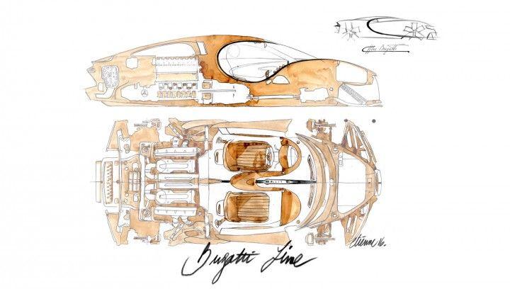 Bugatti Chiron Interior Design Sketch Illustration