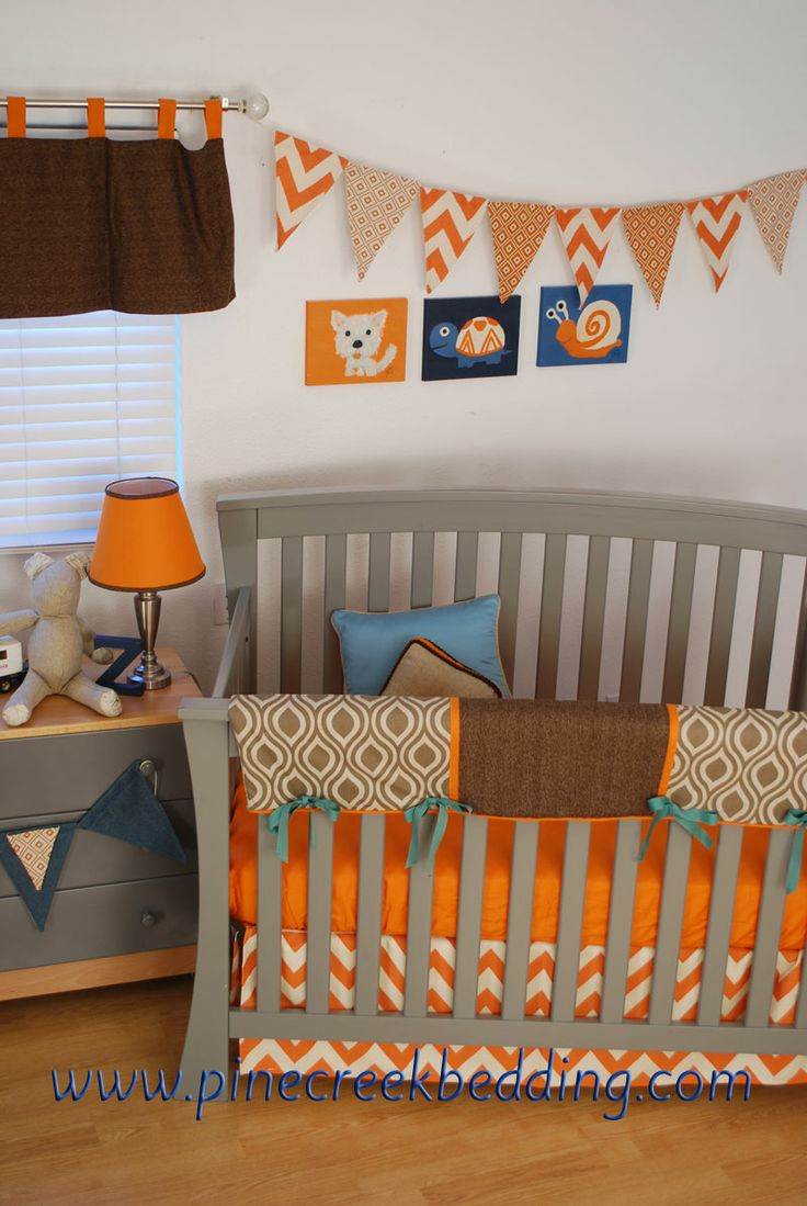 Orange owl crib bedding - Orange Aqua And Brown Crib Bedding Orange Banner And Slate Banners Made By Back At The Pond Designs