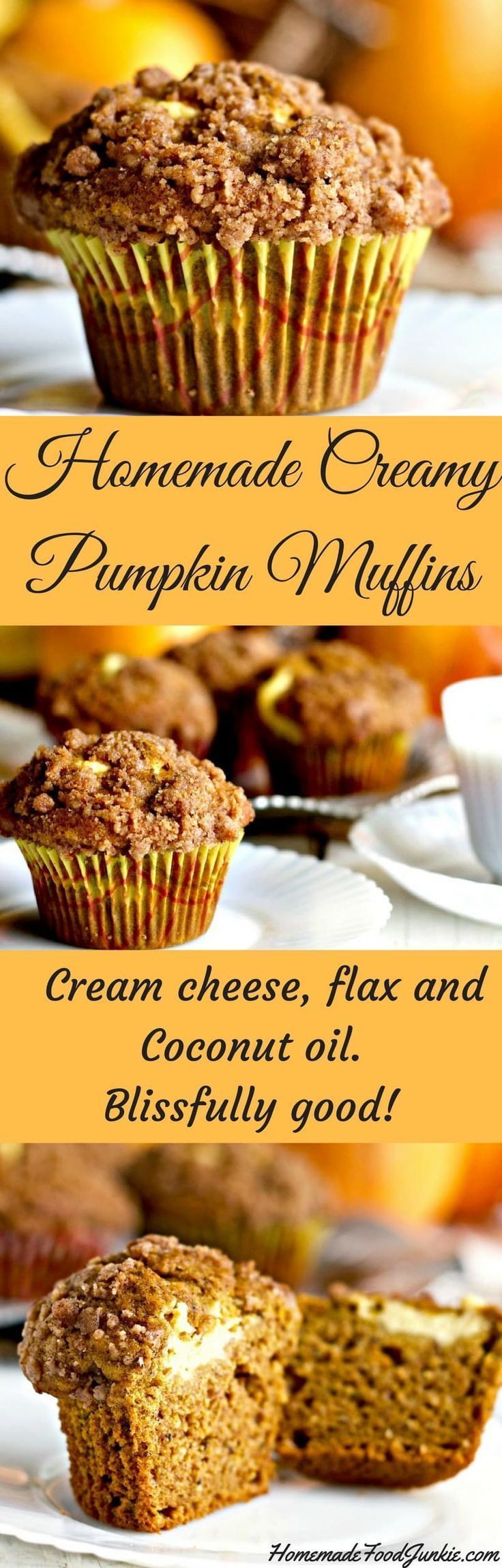 Homemade creamy Pumpkin Muffins with coconut oil and flax for a high fiber breakfast or snack.
