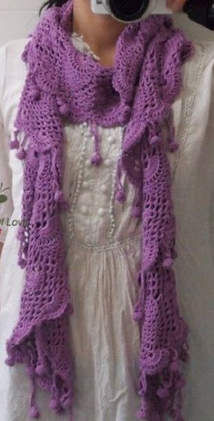 Кружевной шарф крючком + free diagram pattern
