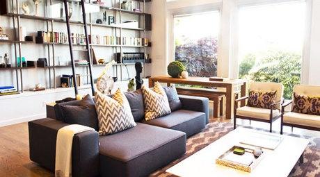 Inspiration: Grey Couch, Decor, Bookshelves, Living Rooms, Window, Dream, Beautiful, Design