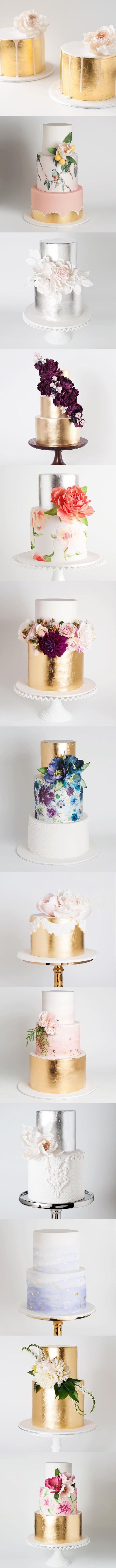 Tartas y pasteles de boda en color oro, y flores, diseños 2016. metallic cakes - my kind of wedding cakes! Bring on the gold :)