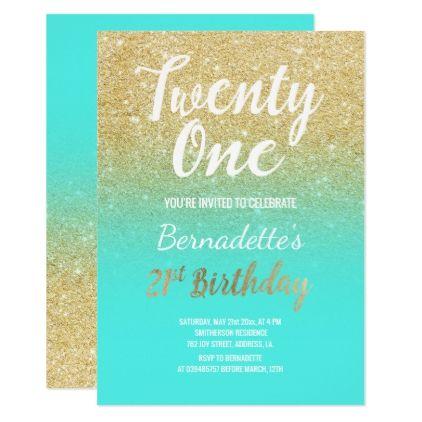 Faux Gold Glitter Ombre Aqua 21st Birthday Card