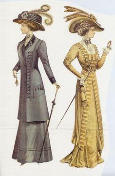 """La linea era ad """"S"""" , l abbigliamento da giorno era composto dalla gonna , la giacca e la camicia simile ad un tailleur ."""