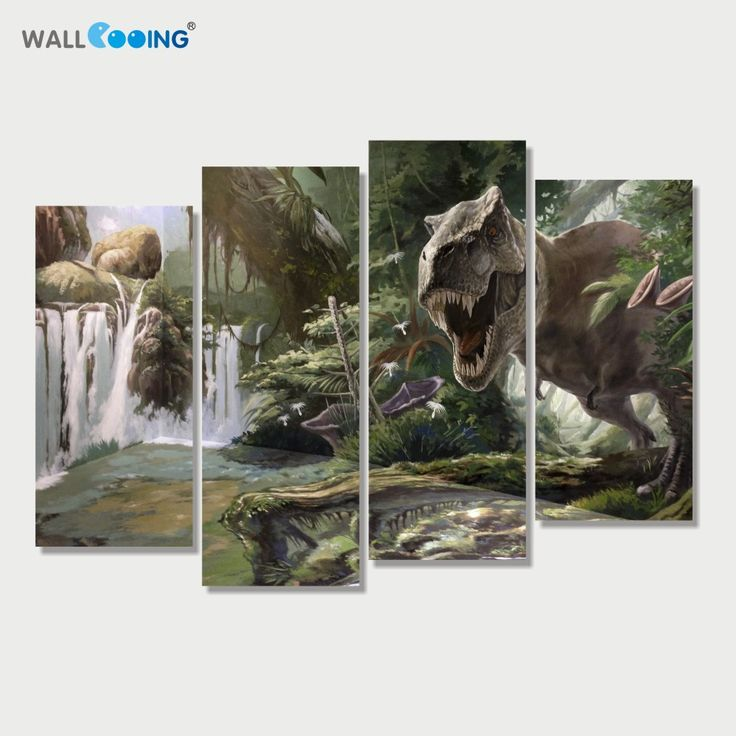 Original Price US $24.00 Sale Price US $16.80 4 panels canvas art canvas painting Modular pictures setting spray Jurassic Park dinosaur image modern home decoration wall art better than guy kawasaki himself #Painting#Calligraphy
