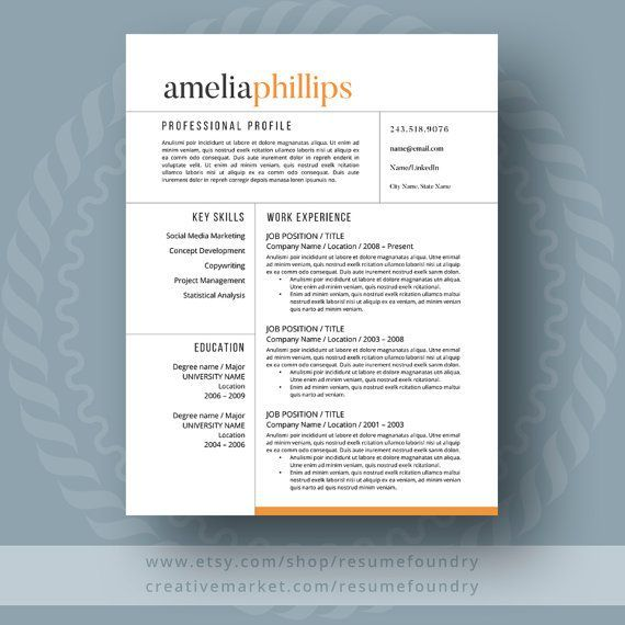 Modern Resume Template / CV Template + Cover Letter for MS Word | Professional and Creative  | One, Two and Three page resume design