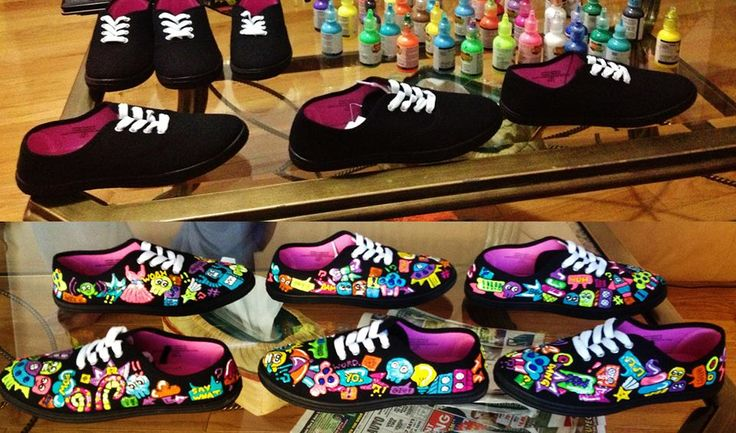 All work and ALL play. Before and After Pardon My Kicks style. Ask us how we can design a shoe that matches your personality. We customize and hand paint everything.   WWW.PARDONMYKICKS.COM INFO@PARDONMYKICKS.COM