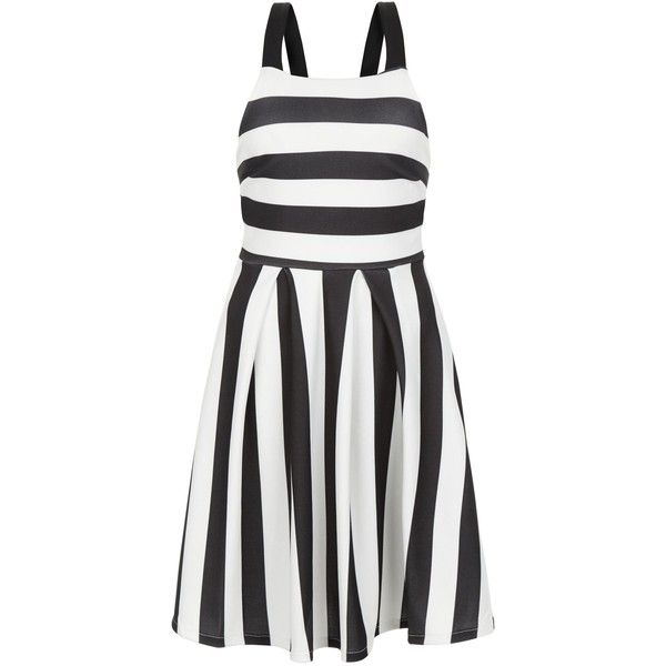 New Look Black Wide Stripe Prom Dress (665 DOP) ❤ liked on Polyvore featuring dresses, black pattern, going out dresses, new look dresses, day party dresses, prom party dresses and pattern dress
