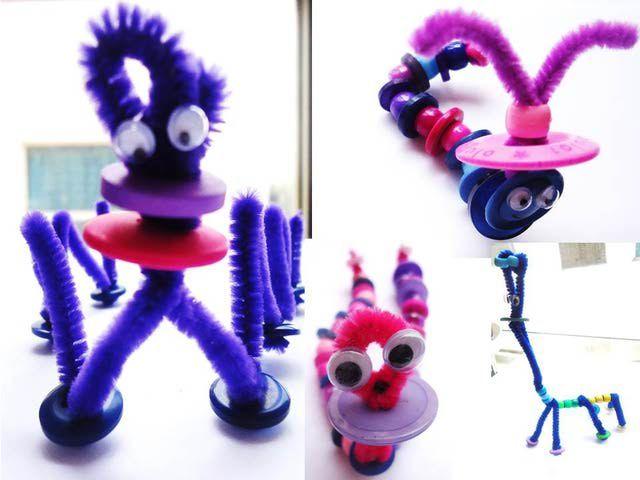 Figuras con limpiapipas y botones: Figuras con limpiapipas y botones