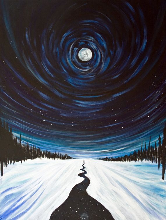 Snow, Moon and Stars, Surreal Landscape Painting  - 16x20 Stretched Canvas Giclee