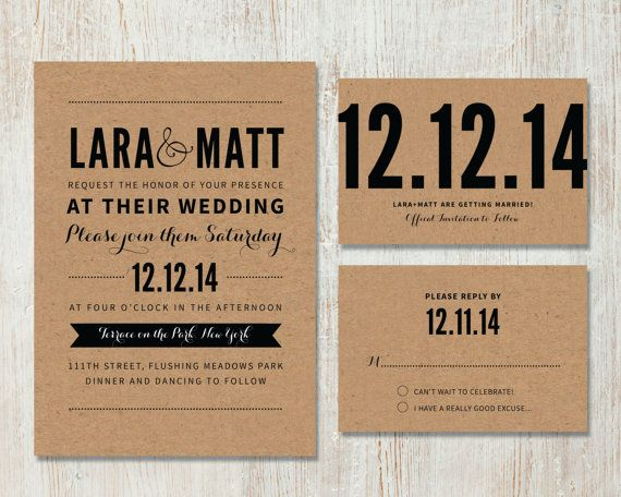 Wedding Invitation Rsvp Date: Rustic Wedding Invitation And RSVP, DIY Kraft Wedding