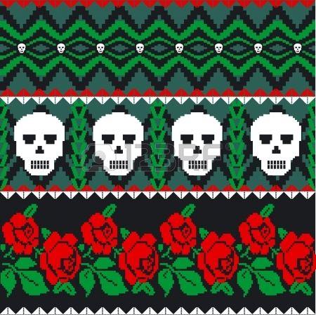 Mexikanische Volkskunst Schädel und Rosen-Muster Stockfoto