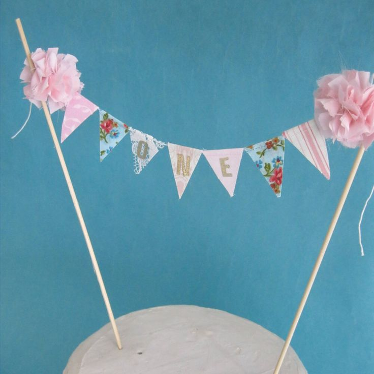 """Garden Party cake banner, Pink smash cake banner, pink birthday, """"ONE"""" F081 birthday cake banner topper by Hartranftdesign on Etsy https://www.etsy.com/listing/174145217/garden-party-cake-banner-pink-smash-cake"""