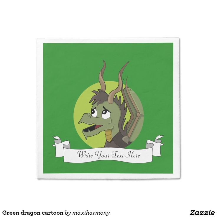 Green dragon cartoon standard cocktail napkin