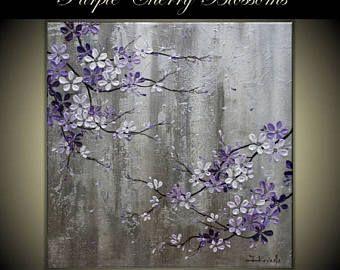 """4 de julio venta pintura moderna Original del arte en galería envuelto lona, decoración del hogar, 30 """"x 30"""" Purple Cherry Blossoms"""