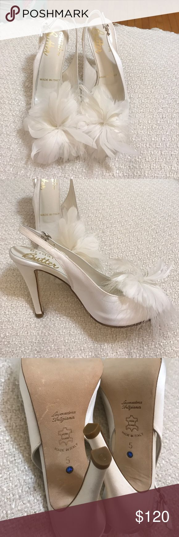 Butter Bridal Wedding Shoes Gorgeous! Perfect wedding shoes. Ivory satin and leather sole and insole. Brand New! Made in Italy! Very unique shoes perfect for a very unique bride. :) Butter Shoes Shoes Heels