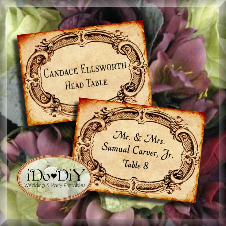 Add a romantic old world feel to your wedding or event with editable place cards that have an aged and vintage look and completed with a Victorian frame. #VintageStyle #VictorianFrameTemplate #PlaceCardTemplate #EditableTemplatesDownload