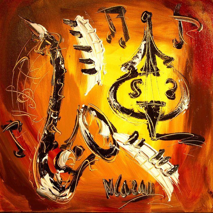 SAXOPHONE Modern abstract Art Wall Decor Signed by Canadian Artist Mark Kazav