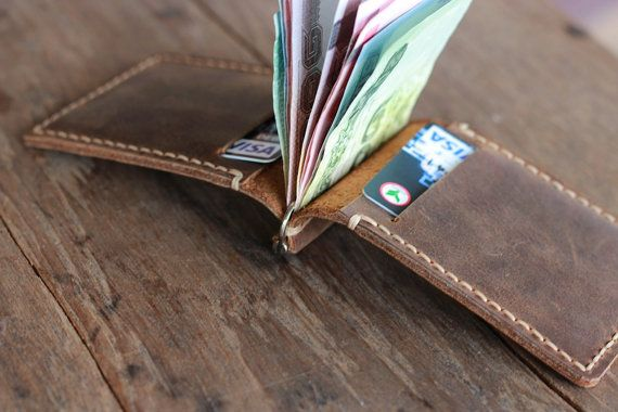 Leather Money Clip Wallet Distressed Leather Wallets by JooJoobs, $39.00