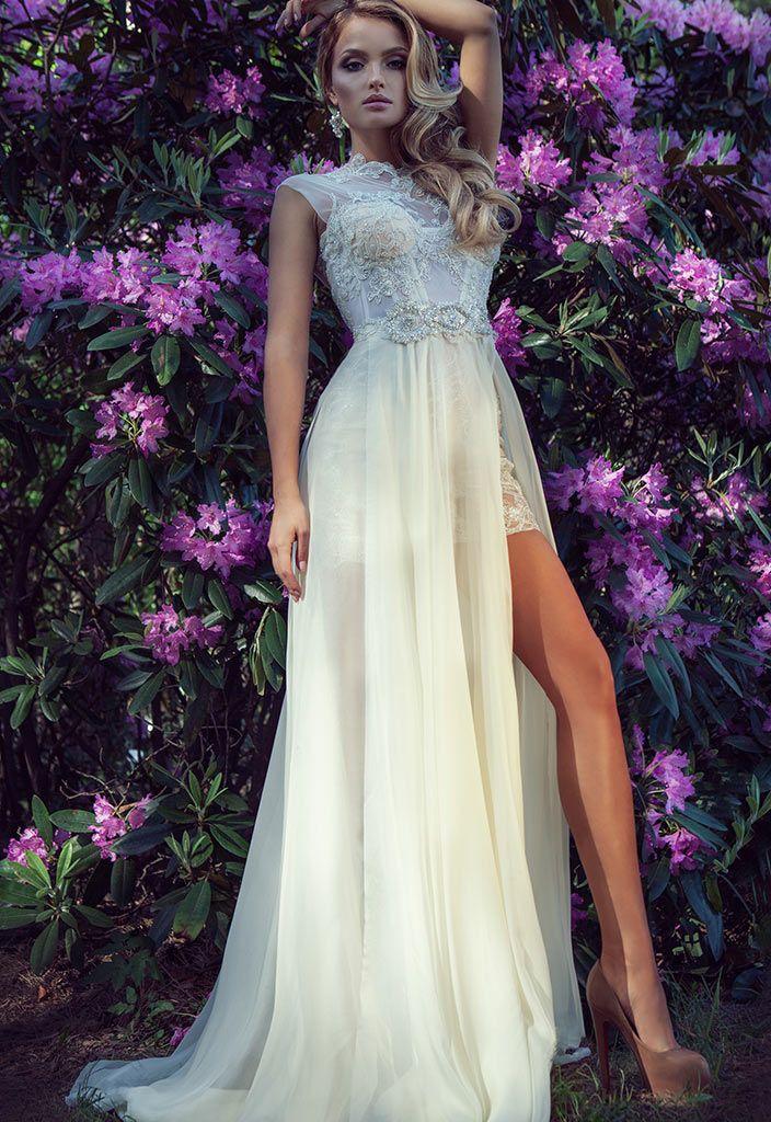 Короткое кружевное платье с длинной съемной юбкой 'Tiana' | Свадебный салон ROMANCE
