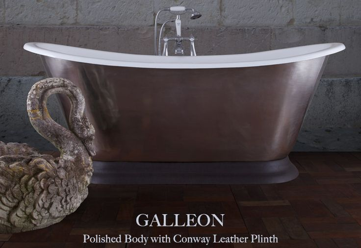 The polished Galleon #bath - finished off with a stunning Conway #leather plinth - the leather finishes off the bath nicely, and softens the look of the #polished #CastIron