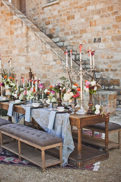love the medieval vibe on this reception table. I really like the draping of the table runner.